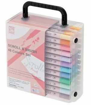 Valisette de 48 marqueurs Zig scroll & brush DOUBLES POINTES